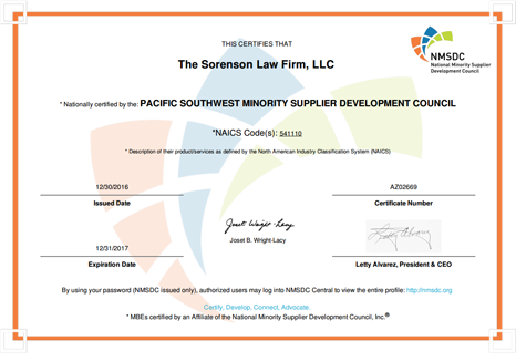 Pacific Southwest Minority Supplier Development Council Certificate